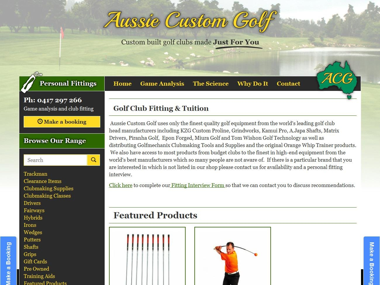 Aussie Custom Golf Website Preview