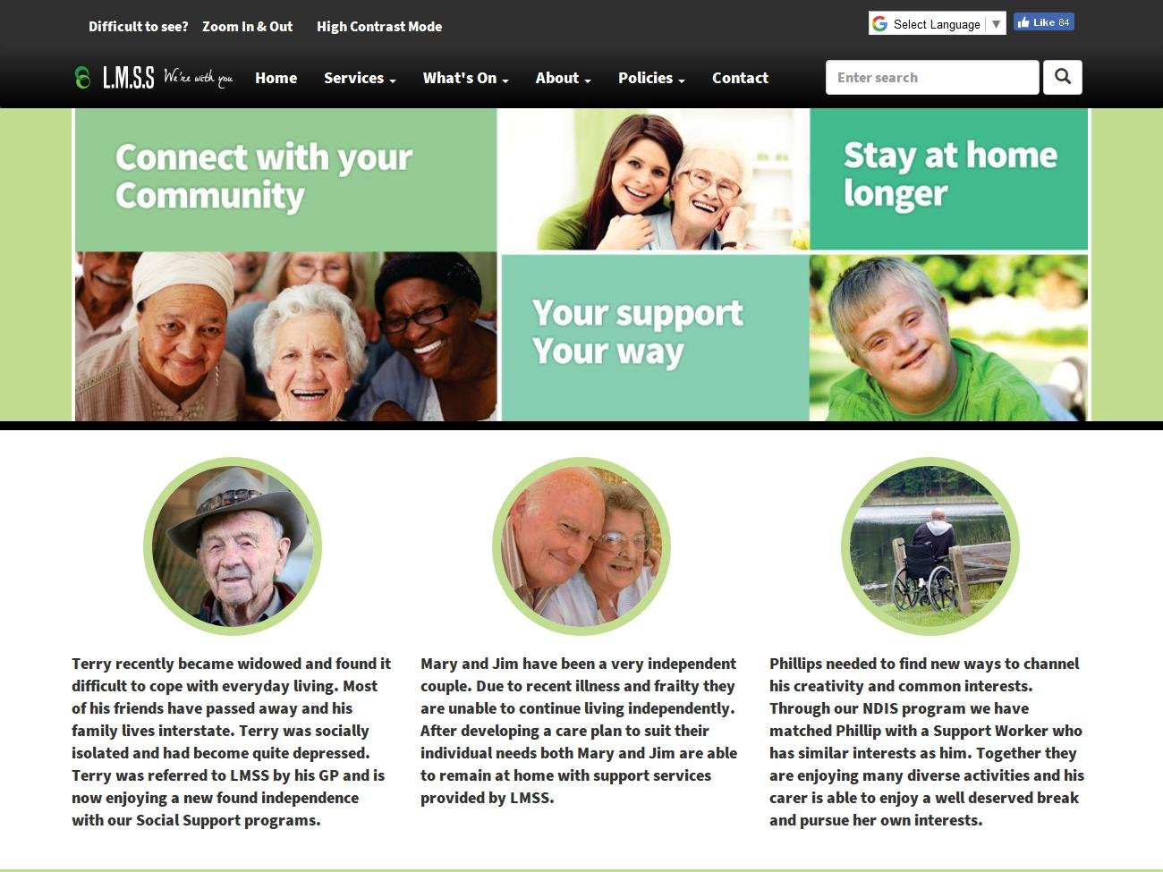 Lake Macquarie Support Services Website Preview